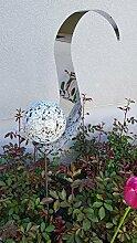 Skulptur Flame weiß aus Edelstahl 146 cm Kugel