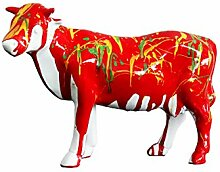 Skulptur Kuh Dekoration Rot–Style Moderne Zeitgenössische