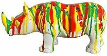 Skulptur Nashorn Dekoration, mehrfarbig gestreift–Style Moderne Zeitgenössische