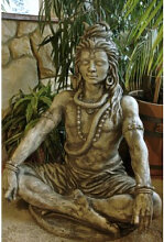 Skulptur Shiva aus Steinguss (Shiva: Eisenoxid)