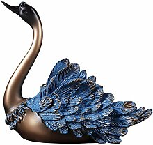 Skulptur Statue Ornament Nordic Sapphire Blue Swan