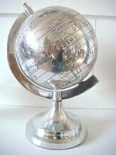 Skulptur Weltkugel Globus Dekofigur Alu Deko Dekoration Edel Deko Aluminium silber 26cm Höhe