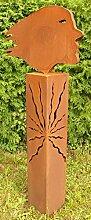 Skulptur Windsbraut auf Podest Rost Gartendeko