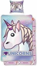 SkyBrands Bettwäsche Unicorn Emoji Einhorn Bunt