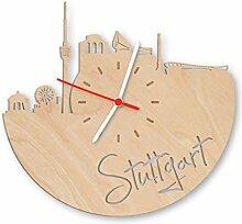 Skyline Stuttgart Wanduhr aus Birken-Holz Made in Germany | Design Uhr aus Echtholz | Wand-Deko aus Birke | Originelle Wand-Uhr | Moderne Wand-Uhr im Skyline Design | Wand-Dekoration aus Natur-Holz
