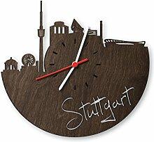 Skyline Stuttgart Wanduhr aus Eichen-Holz geräuchert Made in Germany | Design Uhr aus Echtholz | Wand-Deko aus Eiche geräuchert | Originelle Wand-Uhr | Moderne Wand-Uhr im Skyline Design | Wand-Dekoration aus Natur-Holz
