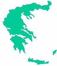 Skyline4u Griechenland Aufkleber in 8 Größen und 25 Farben (60x52cm türkis)