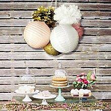 Skylove Papierdeko Seidenpapier-Blumen und Papier-Laternen Party-Dekoration, 6Stück White,Pink,Gold