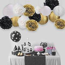 Skylove, Partydekoration / Pompons / Quasten / Girlande, getupft, Schwarz, Gold, Papiergirlande für Hochzeit, Babyparty, ersten Geburtstag, Brautparty