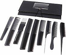 SkyRam (TM) 9pcs Berufssalon- Haare k?mmen Set Barbers Schneidek?mme Haar-B¨¹rsten-Ausr¨¹stung mit Beutel-Halter-Kasten-Haar-Styling Werkzeuge Schwarz