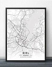 SKYROPNG Leinwand Bild,Deutschland Kiel Stadtkarte