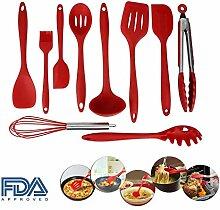 SkySea 10 Stück Silikon Küchengerät Eingestellt Ungiftig Antihaft- Silikon Kochen rot Silikon Kochen Werkzeuge Gesetzt (Rot)