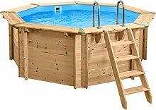SL247 Luxus Holzpool rund I Aufstellpool 355cm Durchmesser I 116cm tief I Swimmingpool Komplett Set inkl. Sandfilterpume und Filter Balls