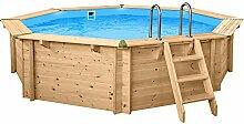 SL247 Luxus Holzpool rund I Aufstellpool 440cm Durchmesser I 116cm tief I Swimmingpool Komplett Set inkl. Sandfilterpume und Filter Balls