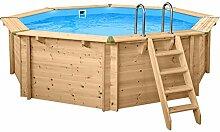 SL247 Luxus Holzpool rund I Aufstellpool 440cm Durchmesser I 136cm tief I Swimmingpool Komplett Set inkl. Sandfilterpume und Filter Balls