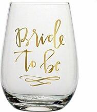 Slant 20Oz ohne Stiel Wein Glas-Bride to Be