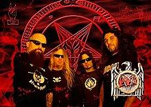 Slayer 13 Kerry King Tom Araya Gary Holt Paul Bostaph Great Rock Metal-Album Cover, Musik Best-Band Bilderrahmen für DIN A3, Poster-Prin