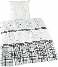 Sleep and Dream 4001626021352 Bettwaren-Set bedruckt, Dessin New York Microfaserhülle mit Polyesterhohlfaserfüllung, 80 x 80 und 135 x 200 cm