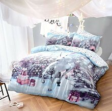 Sleepdown Einhorn-Weihnachts-Bettwäsche-Set mit