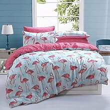 Sleepdown Flamingo Stripe Bettwäsche-Set für