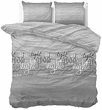 SleepTime Bettwäsche Comfort Night Anthrazit Text