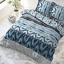 SleepTime Bettwäsche Shibori Retro Blau Modern