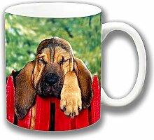 Sleepy Bloodhound Hund Geneigter am Zaun Fotodruck Keramik Tee-/ Kaffeetasse Einzigartige Geschenkidee