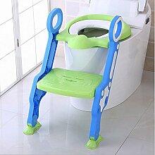 SLHP Toilettentrainer Baby Potty Lerntöpfchen Toiletten-Trainer Faltbare Toilettensitze Leiter Töpfchen Sitz kinder wc sitz (Grün)