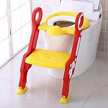 SLHP Toilettentrainer Baby Potty Lerntöpfchen Toiletten-Trainer Faltbare Toilettensitze Leiter Töpfchen Sitz kinder wc sitz (Rot)