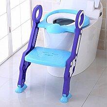 SLHP Toilettentrainer Baby Potty Lerntöpfchen Toiletten-Trainer Faltbare Toilettensitze Leiter Töpfchen Sitz kinder wc sitz (Blau)