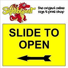 """Slide to offen links Pfeil wetterfest Schild aus Aluminium 5152, PVC oder Aufkleber 15cm x 20cm approx 6"""" x 8"""" Dilite 3mm Schwarz auf Gelb"""