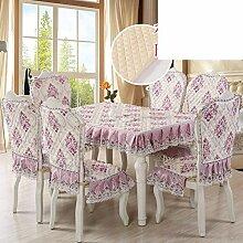Slip Tischdecke,Stoff Esszimmer Stuhl Pad Kit,Europäische Tischdecke,Stuhl Abdeckung Garten Tischdecke Abdeckung Polster-B 85x140cm(33x55inch)
