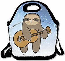 Sloth Play Guitar Lunch Tote Bag For Men Women Kids