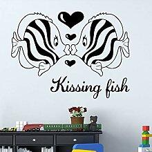 SLQUIET DIY Kissing Fish Wandaufkleber für