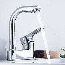 SLT - All-Kupfer-Doppel-Waschbecken Wasserhahn kann gedreht werden heißen und kalten Wasserhahn einzigen Handgriff Doppel-Waschtischbassin-Mixer