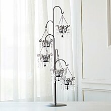 SLXTE-Metall Leuchter, hochwertige, luxuriöse, retro, romantische Hochzeit, Leuchter, Candle-Light Dinner Deko, Deko, Silber 5 Leiter
