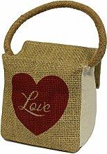 Sm Sq Baumwolle & Jute Türstopper, Herz Love Größe: H 10 cm, B 10 cm, T: 6 cm (gefüllt). Ideal als Geschenk für Geburtstage, Christmas......