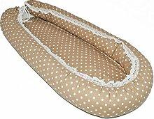 SM1 Babynest Kuschelnest Babybett Babynestchen Reisebett Stillkissen 80 x 40 cm (80x40 cm, Braun mit Spitze-Pünktchen Nr. 017)