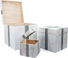 """Small Foot 10197 Holztruhe """"Geschenk"""", 3er Set Truhe, Aufbewahrungsbox, Holz, weiß, 40.00 x 40.00 x 40.00 cm"""