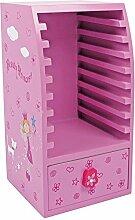 Small Foot by Legler CD Schrank Beauty Princess aus Holz, Kindermöbel dekorativ in rosa mit Prinzessin Motiv, für 9 CDs geeigne