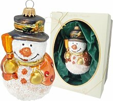 Small Snowman with Broom and Hat Hanging Figurine