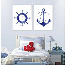 Small Watercolor Anchor And Steering Wheel Art