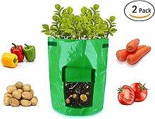 SMAR.T Smart Sisi Kartoffelpflanzsäcke (2Stück) Pflanzen Grow Staubbeutel Gemüse Pflanze Anbau Bepflanzen Staubbeutel für Garten oder Balkon (7Liter)