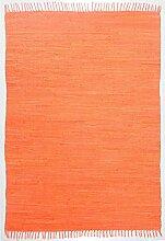 Smaragd Baumwoll-Handwebteppich 70x140 cm terra