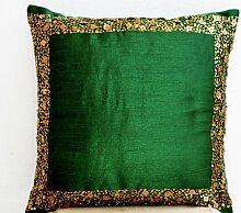 Smaragd Grün Kissen mit Gold Pailletten Details–Regal Kissen–Pailletten Kissen Bezüge–Geschenke, Seide, grün, 45 x 45 cm