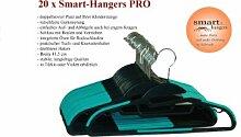 Smart-Hanger PRO - platzsparende, rutschfeste Kleiderbügel (20er Pack, Schwarz / Türkis)