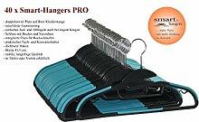 Smart-Hanger PRO - platzsparende, rutschfeste Kleiderbügel (40er Pack, Schwarz / Türkis)