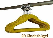 Smart-Hangers 20 x Kinder Kleiderbügel (gelb) - rutschfest, platzsparend, samtbezug