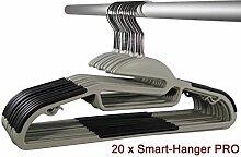 Smart-Hangers PRO | platzspar, gummiert, antirutsch Kleiderbügel (20er Pak, Grau/Schwarz)
