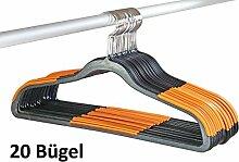Smart-Hangers PUR, antirutsch- platzspar- Kleiderbügel (20, Schwarz - Orange)